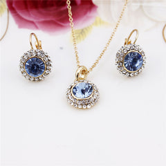Gold Plated Crystal Pendants Necklace/Earrings Set