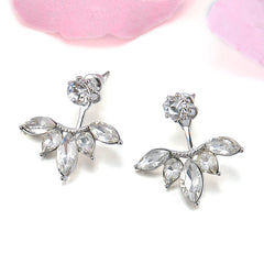 Gold and Silver Plated Leaf Crystal Stud Earrings