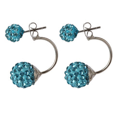 Double Sided Crystal Shamballa Stud Earrings