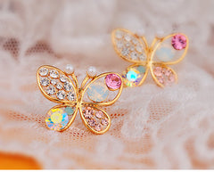 18K Gold Plated Butterfly Stud Earrings