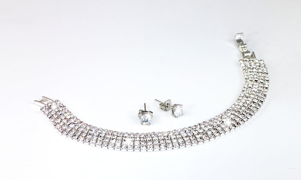 Sterling Silver Pave Bracelet and Earrings Set with Swarovski Elements