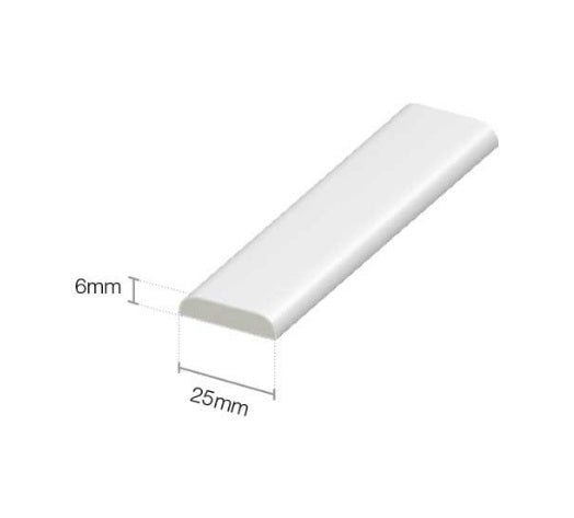 White D Mould - 28mm Rounded Edge Trim