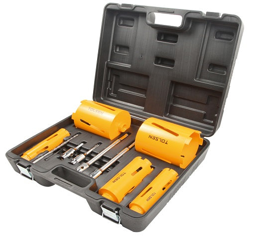Tolsen Diamond Core Drill Set - Hole Saw, Arbour, Pilot & SDS Kit from Tolsen - Virtual Plastics Ltd.