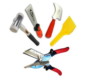 Glazing Kit - Glazing Paddle, Xpert Putty Chisel, Half Moon Glazing Knife, Xpert Gasket Shears SK2 and Thor Hammer from Xpert - Virtual Plastics Ltd.
