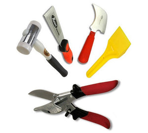 Glazing Kit - Glazing Paddle, Xpert Putty Chisel, Half Moon Glazing Knife, Xpert Gasket Shears SK5 and Thor Hammer from Xpert - Virtual Plastics Ltd.