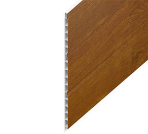 Golden Oak Hollow Soffit uPVC Cladding Board 300mm from Eurocell - Virtual Plastics Ltd.
