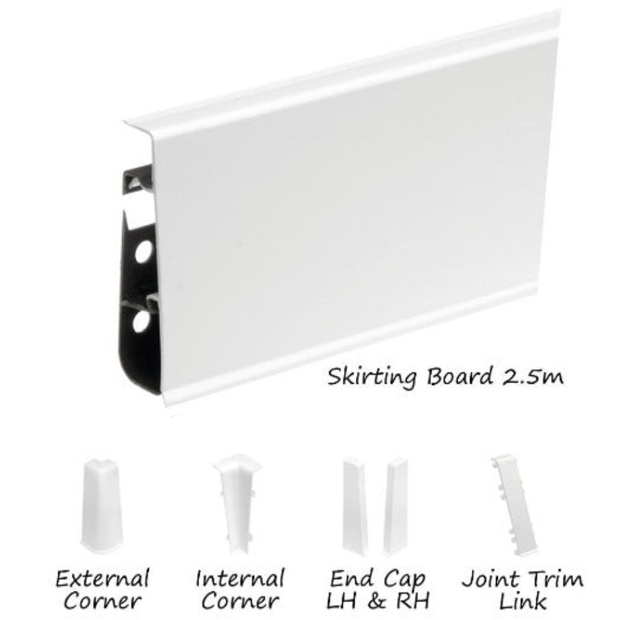 Cezar High Line Plastic Skirting Board with Wire Cover Design