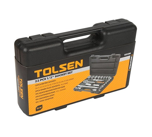 Tolsen 22 Pcs 1/2″ CrV Socket Set 10-32mm from Tolsen - Virtual Plastics Ltd.