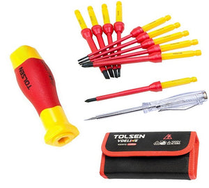Tolsen Insulated Screwdriver 12 pcs Set - VDE 1000V Pro Electrical Kit from Tolsen - Virtual Plastics Ltd.
