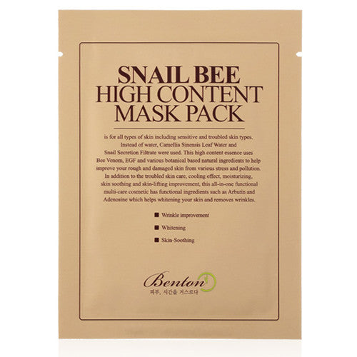 [Benton] Snail Bee High Content MaskPack 20g 1 Sheet - Cosmetic Love