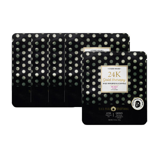 [Etude House] 24K Gold Therapy Black Pearl Mask Brightening 32g x 5PCS - Cosmetic Love