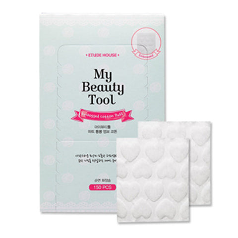 [Etude House] My Beaty Tool Embossed Cotton Puff 150P - Cosmetic Love
