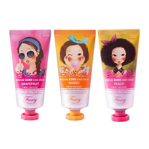 [SET] [Fascy] Moisture Bomb Hand Cream Grape Fruit 80ml + Mango 80ml + Peach 80ml - Cosmetic Love