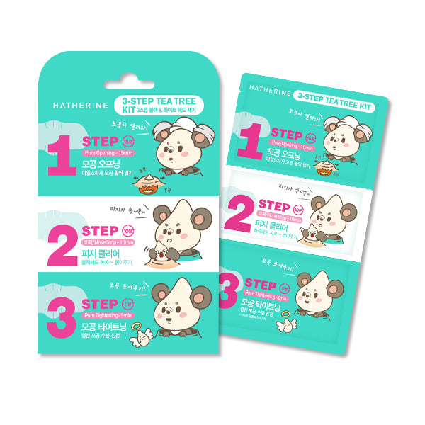 [Hatherine] 3 Step Tea Tree Nose Pack Kit 6 Sheets