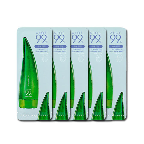 [Holika Holika] Aloe 99% Soothing Gel Gelee Mask Sheet x 5PCS - Cosmetic Love