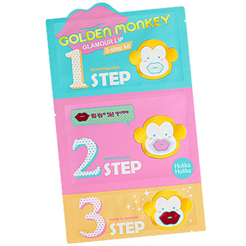 [Holika Holika] Golden Monkey Glamour Lip 3-Step Kit - Cosmetic Love