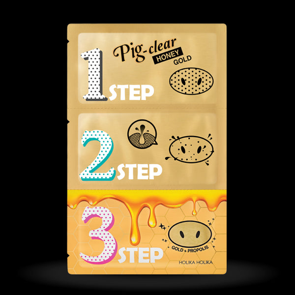 [Holika Holika] Pig Clear Blackhead 3 Step Kit Honey Gold 3g