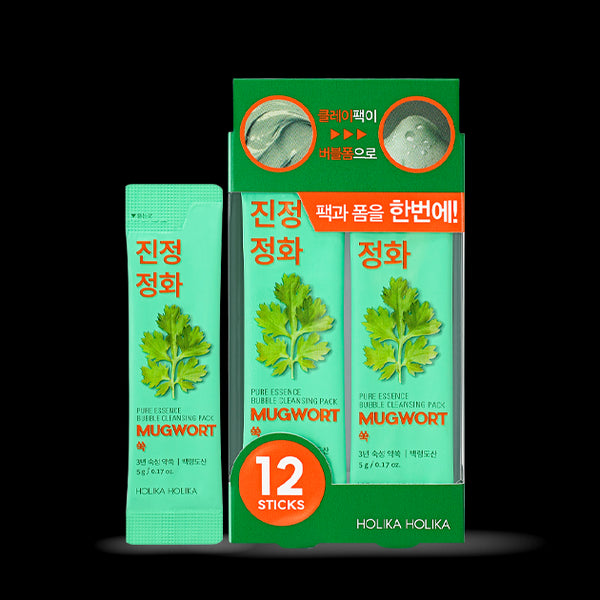 [Holika Holika] Pure Essence Bubble Cleansing Pack Mugwort 5gx12ea
