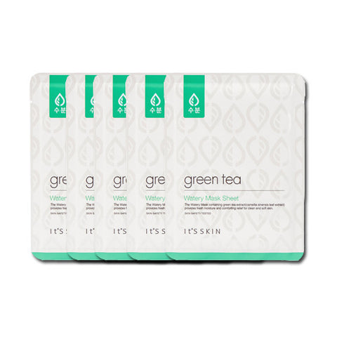 [It's Skin] Green Tea Watery Mask Sheet 1ea x 5PCS - Cosmetic Love