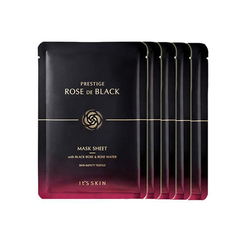 [It's Skin] PRESTIGE Rose De Black Mask Sheet x 5PCS - Cosmetic Love