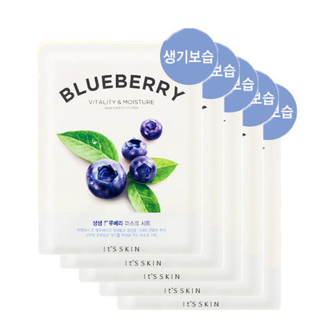 [It's Skin] The Fresh Mask Sheet Blueberry 20ml x 5PCS - Cosmetic Love