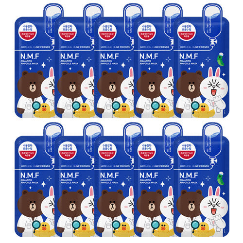 [Mediheal] Line Friends N.M.F Aquaring Ampoule Mask 27ml x 10PCS - Cosmetic Love