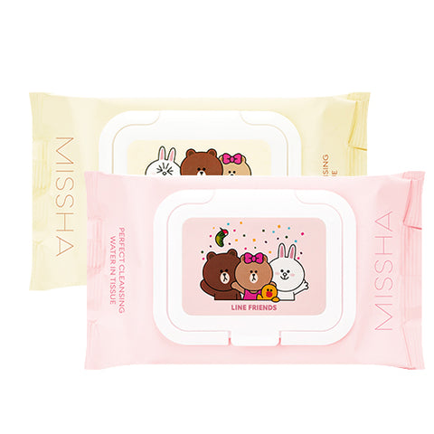 [Missha][LINE Friends Edition] Super Aqua Perfect Cleansing Water In Tissue 200ml 30sheets