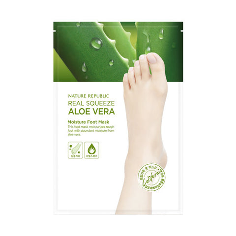 [Nature Republic] Real Squeeze Aloe Vera Moisture Foot Mask - Cosmetic Love