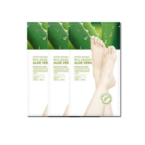 [Nature Republic] Real Squeeze Aloe Vera Peeling Foot Mask 1sheet x 3PCS - Cosmetic Love