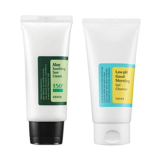 [SET] [Cosrx] Low Ph Good Morning Gel Cleanser150ml + Aloe Soothing Sun Cream SPF50 PA+++ 50ml
