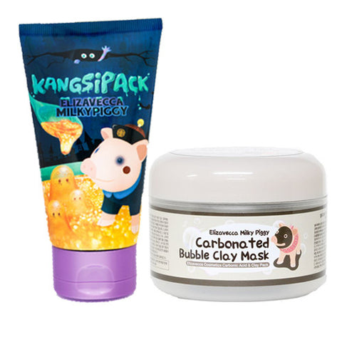 [SET] [Elizavecca] 24 Gold Kangsi Pack 120ml +Milky Piggy Carbonated Bubble Clay Mask 100g