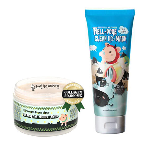 [SET] [Elizavecca] Green Piggy Collagen Jella Pack + Hell Pore Clean Up Mask