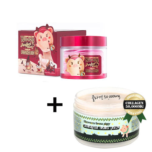 [SET] [Elizavecca] Green Piggy Collagen Jella Pack + Hell-Pore Perfect Wine Sparkling Peeling Pad 30ea