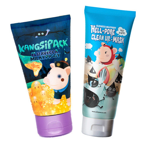 [SET] [Elizavecca] Hell Pore Clean Up Mask 100ml +24 Gold Kangsi Pack 120ml - Cosmetic Love