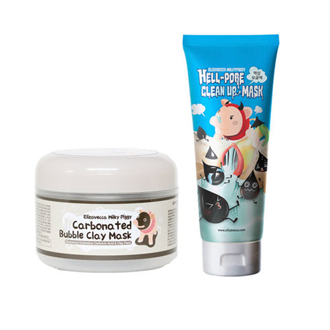 [SET] [Elizavecca] Hell pore clean up mask + Milky Piggy Carbonated Bubble Clay Mask 100g