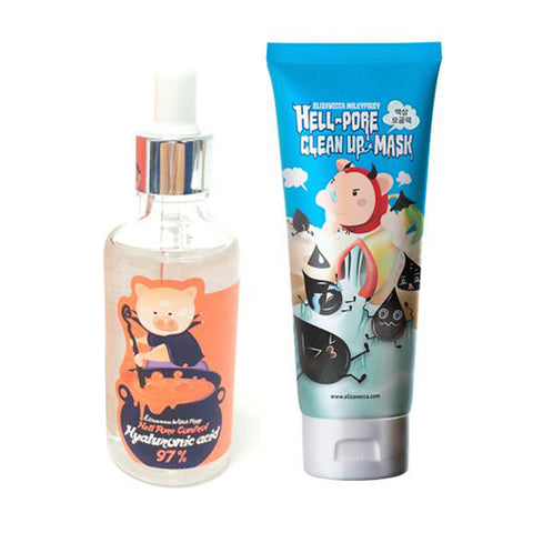 [SET] [Elizavecca] Witch Piggy Hell Pore Control Hyaluronic acid 97% 50ml + Hell Pore Clean Up Mask