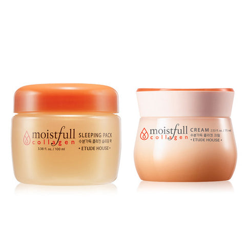 [SET] [Etude House] Moistfull Collagen Cream 75ml + Moistfull Collagen Sleeping Pack 100ml - Cosmetic Love