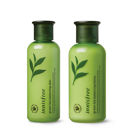[SET] [Innisfree] Green Tea Balancing Skin 200ml + Green Tea Balancing Lotion 160ml - Cosmetic Love