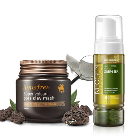 [SET] [Innisfree] Super Volcanic Pore Clay Mask 100ml + [Neogen] Real Fresh Foam Green Tea 160g - Cosmetic Love