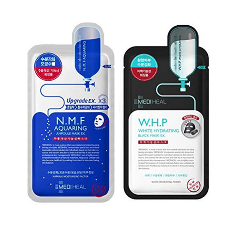 [SET] [Mediheal] N.M.F Aquaring Ampoule Mask 25ml(10PCS) + W.H.P White Hydrating Black Mask EX (10PCS) - Cosmetic Love