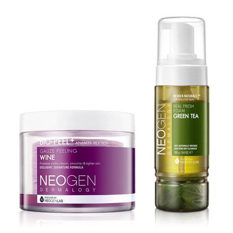 [SET] [Neogen] Bio Peel Gauze Peeling Wine 30ea + Real Fresh Foam Green Tea 160g - Cosmetic Love