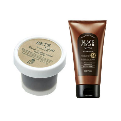 [SET] [Skin Food] Black Sugar Mask Wash-Off 100g + Black Sugar Perfect Scrub Foam 180g - Cosmetic Love