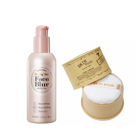 [SET] [Skin Food] Peach Sake Silky Finish Powder 15g + [Etude House] Beauty Shot Face Blur SPF33 PA+ 35g