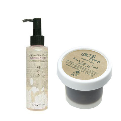 [SET] [The Face Shop] Rice Water Bright Cleansing Oil 150ml + [Skin Food] Black Sugar Mask Wash-Off 100g - Cosmetic Love