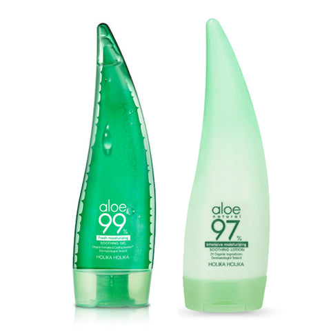 [SET][Holika Holika] Aloe 99% Soothing Gel Fresh 250ml+Aloe 97% Soothing Lotion Intensive Moisturizing 240ml