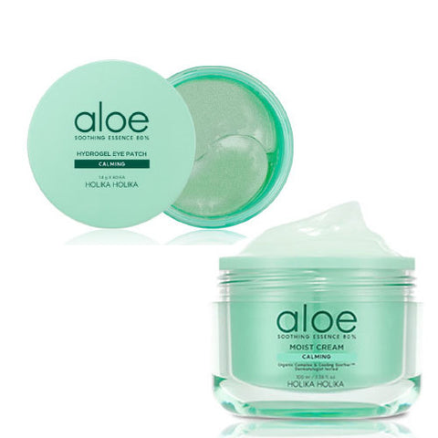 [SET][Holika Holika] Aloe Soothing Essence 80% Hydrogel Eye Patch 1.4g x 60EA+Aloe Soothing Essence 80% Moist Cream 100ml