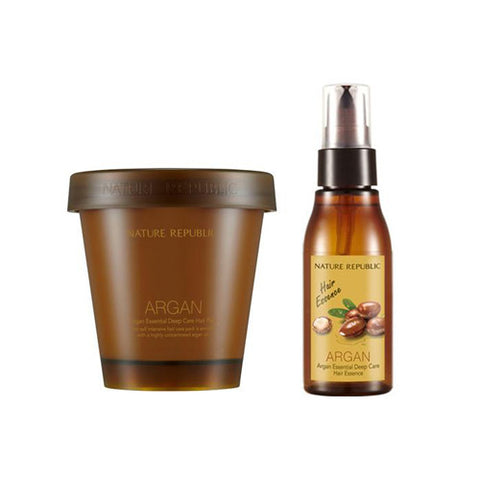 [SET][Nature Republic] Argan Essential Deep Care Hair Pack 200ml + Essence 60ml