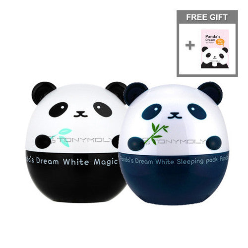 [SET][Tonymoly] Panda's Dream White Magic Cream 50g + Sleeping Pack 50g + Free Gift Eye Patch - Cosmetic Love