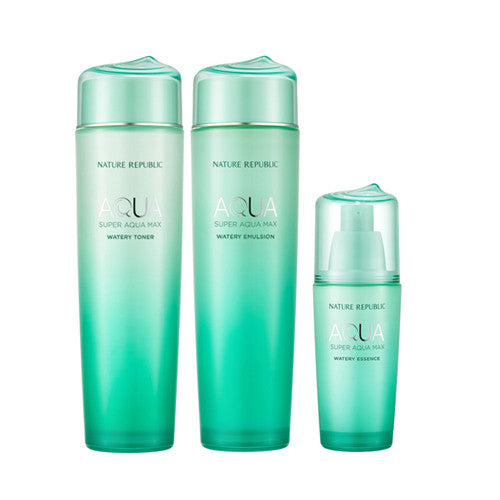 [SET][Nature Republic] Super Aqua Max Watery Toner 150ml+ Emulsion 150ml + Essence 42ml - Cosmetic Love