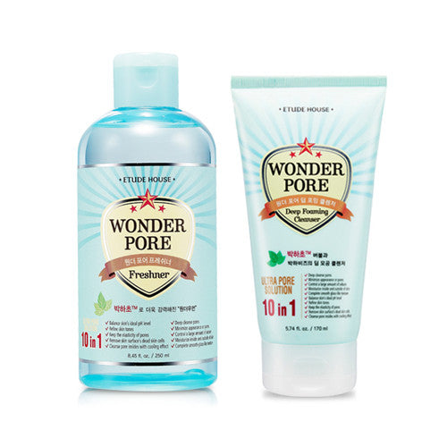 [SET][Etude House] Wonder Pore Deep Foaming Cleanser 170ml + Freshner 250ml - Cosmetic Love